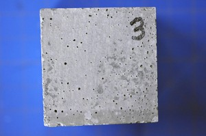 Concrete test block for assessing microbial induced corrosion