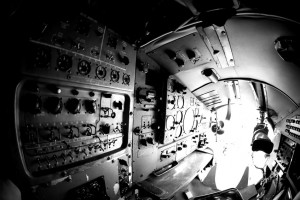 Interior of an old aircraft with control panel closeup
